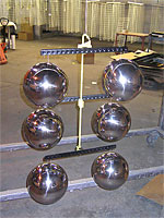 6 Silver Globes on  hooks for painting.